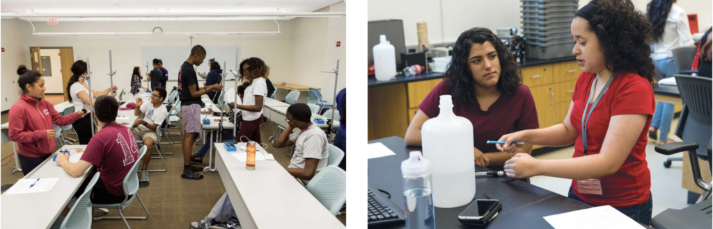 High school students work in a Georgetown University lab as part of the Summer College Immersion Program. Here they grapple with the details of taking and analyzing data while studying the mechanics of soft materials and flowing liquids.