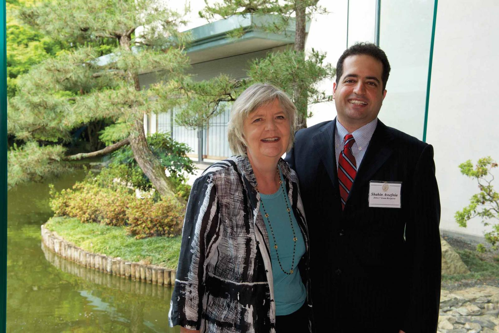Frances Schafer, partner in Research Donor, with Shahi Assefnia