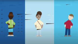 A still from the Georgetown University access & affordability animated explainer showing illustrations of three students