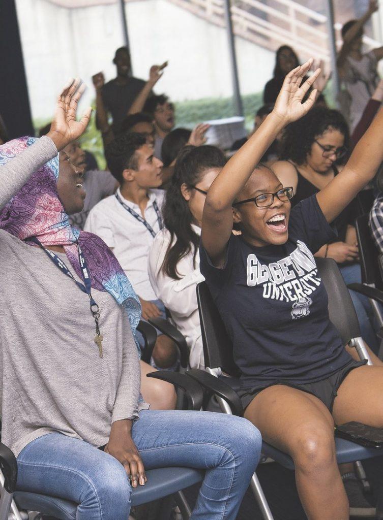 "Community Scholars Program students showcase their talents during the ""ART share"" program."