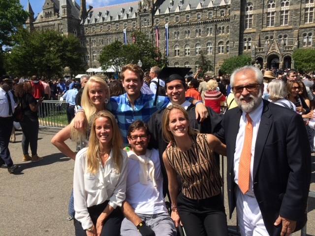 Rolando Gonzalez-Bunster stands in front of Healy Hall with his family at Diego Gonzalez-Bunster's graduation.
